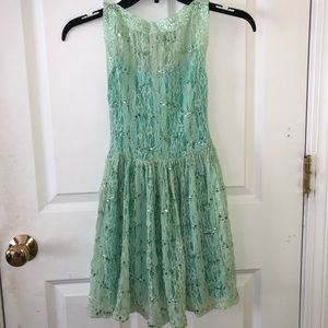 Other - mint green lace sequin dress